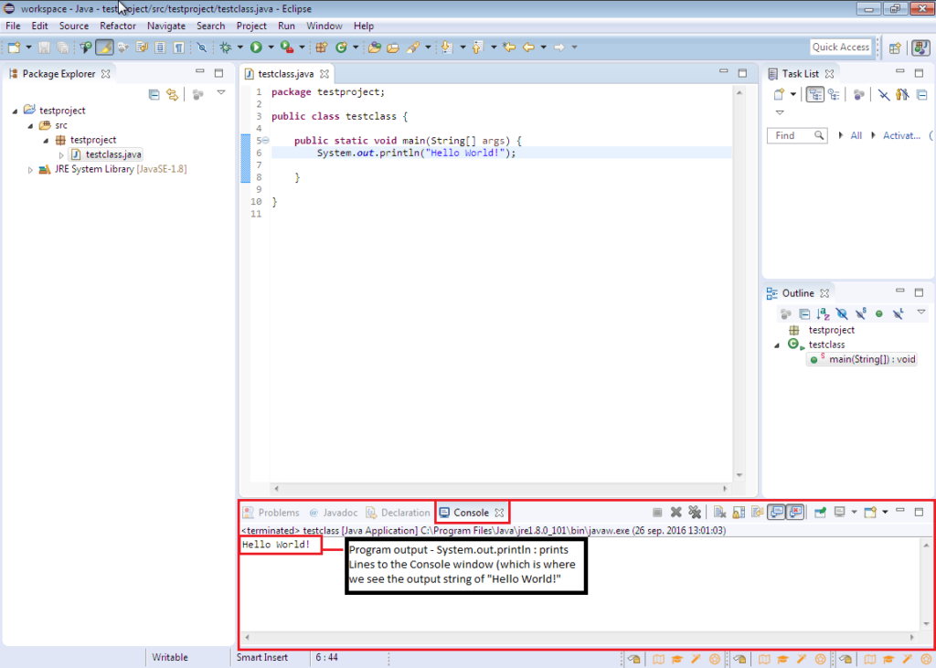 Running a simple Hello world! program in Eclipse in Java