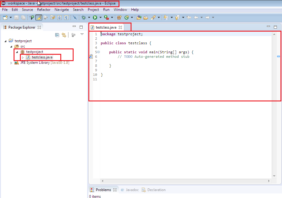 Java Class created in Eclipse IDE