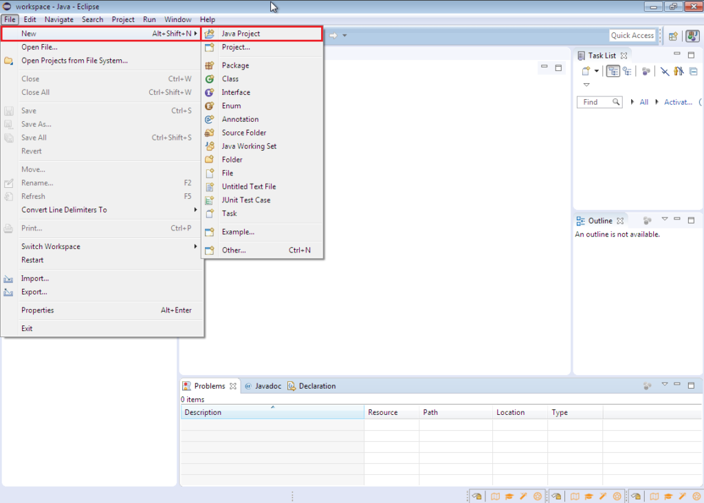 Creating a new Java project in Eclipse