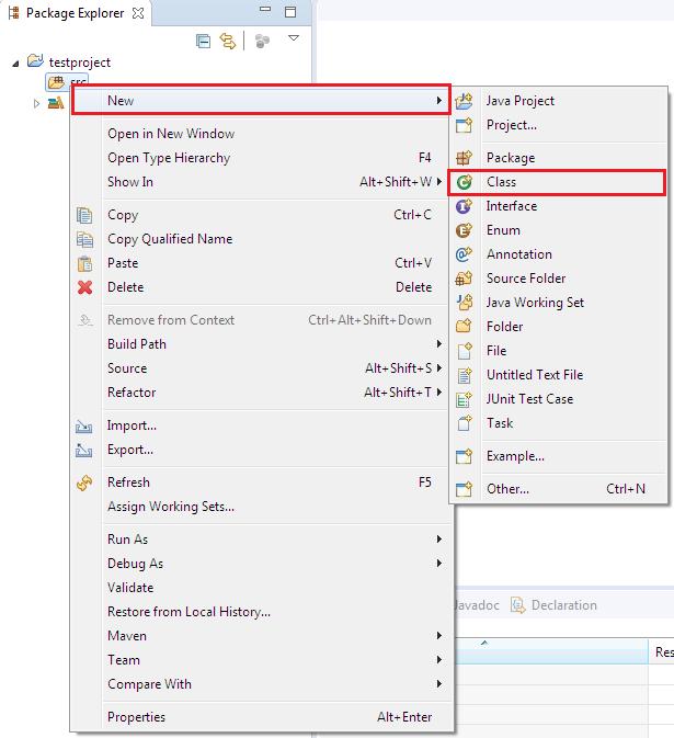 Eclipse Java Class creation