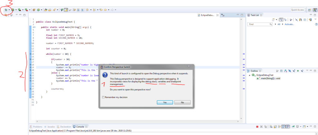 Debugger perspective view switch prompt in Eclipse for Java