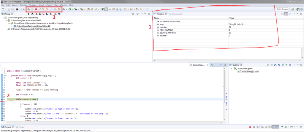 Activating Java debugger in Eclipse view with values and debug stack etc.