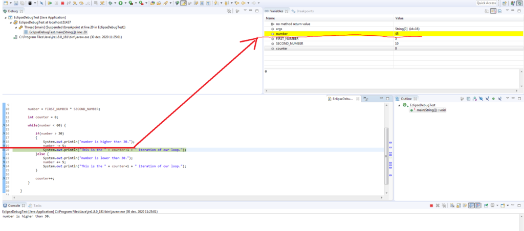 Eclipse indicates changes to variable values when stepping through breakpoints by highlighting