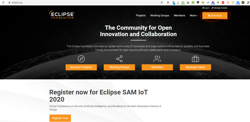 Go to Eclipse website, click the Download button