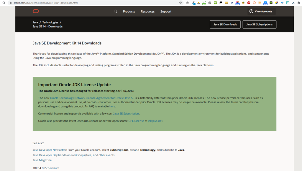 What is shown on the JDK Download page