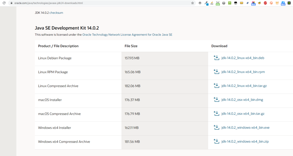 Scroll down on Download JDK page to see Java SE Dev Kit section where you can download the files