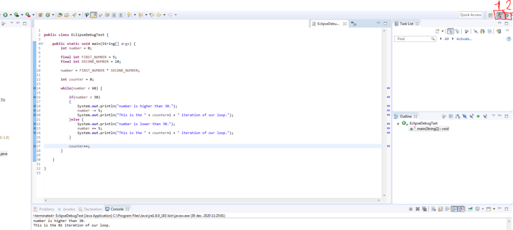 Switch views in Eclipse Java to built-in debugger