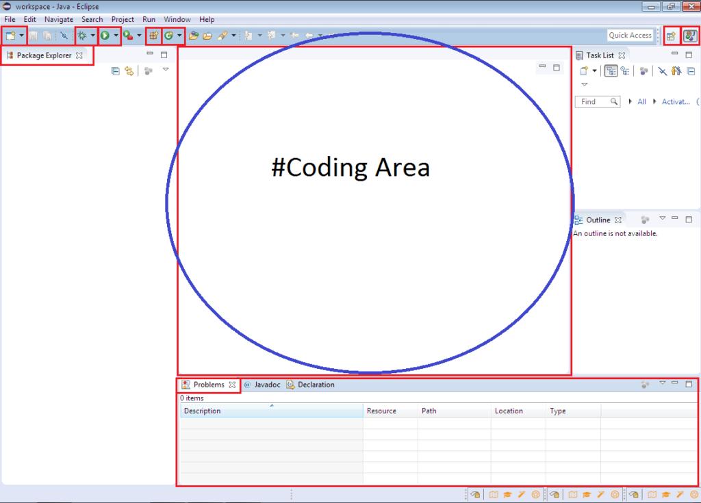 Eclipse IDE Coding Area